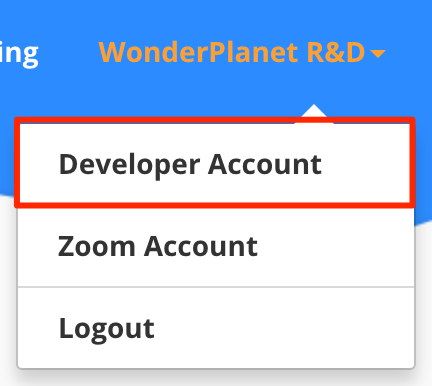 Zoom Developer Account